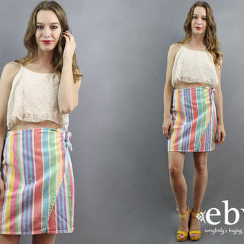 Rainbow Skirt White Denim Skirt Striped Skirt Wrap Skirt Candy Stripe Skirt 90s Skirt 1990s Skirt Jean Skirt 90s Mini Skirt Summer Skirt S M