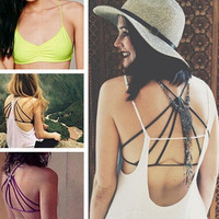 Women's Fashion Trendy Strappy Bandage Summer Bra Crop Top Casual Bustier