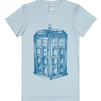 Tardis sketch-Female Light Blue T-Shirt