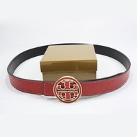 One-nice™ Perfect TORY BURCH Woman Fashion Smooth Buckle Belt Leather Belt