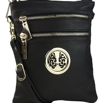 Mia K. Farrow MKF Collection Woman's Crossbody Bag Multi Zipper Travel Shoulder Messenger Purse