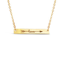 Cubic Love Arrow Bar Necklace