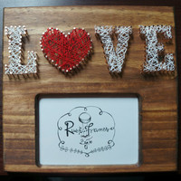 Handmade wooden picture frame (5x7) with copper nail & yarn art (LOVE)