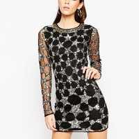 ASOS NIGHT Mesh Bodycon Mini Dress With Embellished Stars