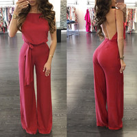 Open Back Red Sleeveless Loose Jumpsuit with Belt
