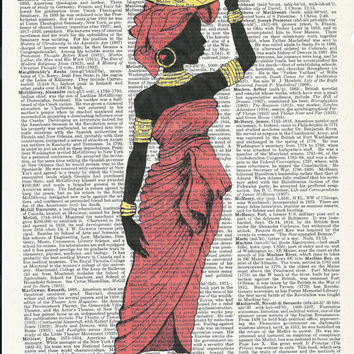 Illustration Fashion of  African Woman on Dictionary Art Print onUpcycle Vintage Page Book Print Art Print Collage Print