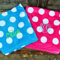 MONOGRAM Polka Dot Beach Towel - Bridesmaid Gift - Graduation Gift - Sorority Gift
