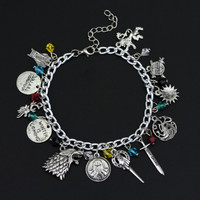 Game of Thrones Charm The House Banners 7 Kingdoms Nights Watch Dragons Stark Bracelet