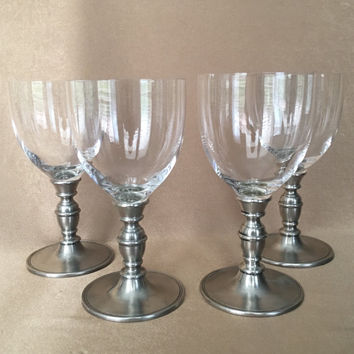 Pewter Wine Glasses, Match Pewter, Caterina Crystal, Made in Italy, Stamped Hallmarks, Wedding Gift, Collectible Glasses, Vintage Barware