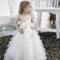 Size 2-14 pagent flower girl party dress various colors available satin sleeveless ball gown scoop neck