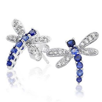 Bling Jewelry Blue Dragonfly Studs