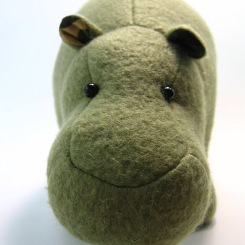 Hank the Camouflage Hippopotamus, small, mini, stuffed animal, plush, fleece