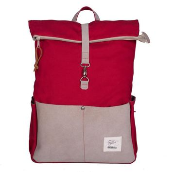 Anna Tomato Red & Tan Canvas & Recycled Leather Commuter Backpack