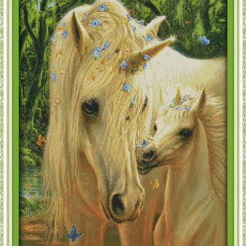 Mother's Love Horse Animal DMC Cross Stitch Kits 11CT Accurate Printed Embroidery DIY Handmade Needle Work Home Decor Set Art