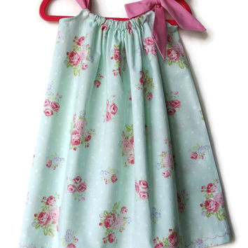 Toddler summer dresses - Floral pillowcase dress - mint green sundress - baby dresses - pillowcase dresses - cotton girls dress - easter