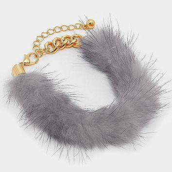 "8.50"" rabbit fur chain bracelet bangle cuff"