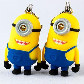 New arrive cute minions LED Keychain talk minions with LED flashlight and sound cute fun gift for lovers 9#