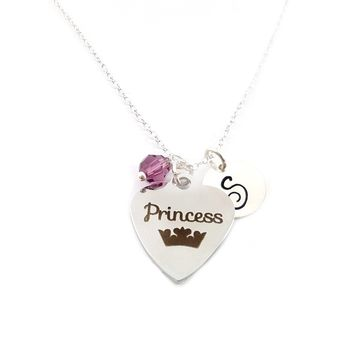 Princess Crown Personalized Sterling Silver Necklace