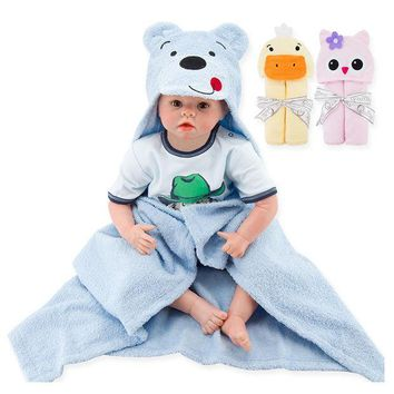 PEAPUNT Baby Bath Towel Blanket Plush Toy Educational Hooded Washcloth Toallas Newborn Muselinas Baby Bathrobe