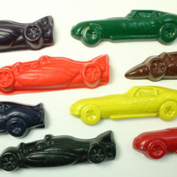 Racecars 8 FAT Reinvented CRAYOLA CRAYONS with Large Storage Box to Color and Personalize Red blue green race cars
