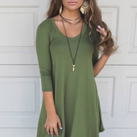 Maybe Baby Olive V-Neck Quarter Sleeve Tunic Dress