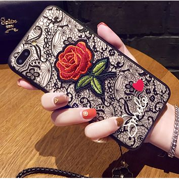 Iphone 7plus mobile phone case lanyard iPhone6s protective cover creative flower drop i8 female soft shell