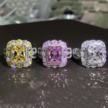 3 Color Big CZ Zircon Stone Silver Rings for Women Fashion Wedding Engagement Jewelry 2018 New