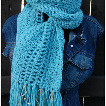 Bead Scarf for Women and Teens - Teal Blue Scarf - Handmade Crochet Scarf - Long Scarf - Winter and Fall - Holiday Gift for Her