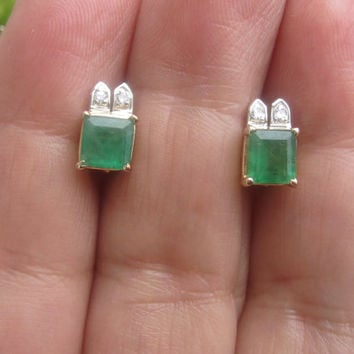 Vintage Natural Earth Mined Emerald & Old Cut Diamond Stud Earrings 14k Gold Estate Earrings May Birthstone