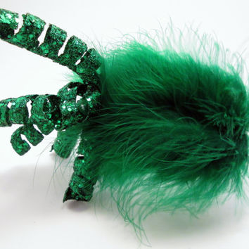 Emerald Spiral Photo Prop Tiara - St. Patrick's Day Headband - New Year's Eve Fireworks Fascinator - Steampunk - Wedding - Bride - Christmas