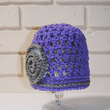 Crochet Summer Cloche Baby Girl Beanie, Summer Hat, Spring Knit Hat, Girls Crochet Hat, Toddler Girls Spring Hat, Purple Gray Cloche Hat