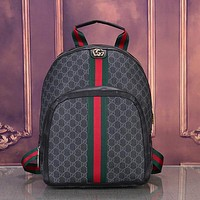 GUCCI Woman Men Fashion Leather Backpack Bookbag Rucksack