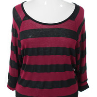 Plus Size Round Neck Stripe Loose Rose Blouse, Plus Size Clothing, Club Wear, Dresses, Tops, Sexy Trendy Plus Size Women Clothes