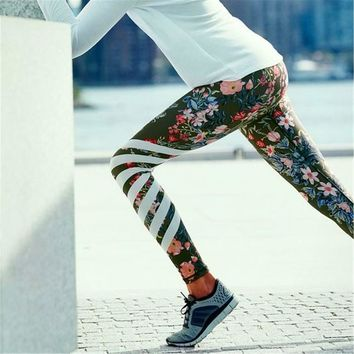 Floral Print High Waist Compression Yoga Pants