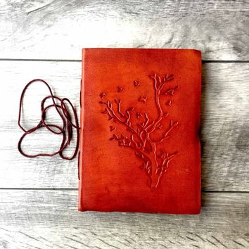Embossed Tree Handmade Leather Journal