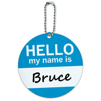 Bruce Hello My Name Is Round ID Card Luggage Tag