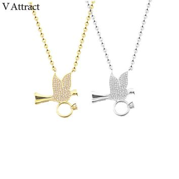 V Attract 10pcs Graduation Charms Jewelry CZ Collares Mujer 2017 Vintage Peace Dove Necklace Pendants For Women