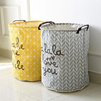 40*50cm Folding Laundry Basket Yellow Arrow Couple Storage Barrel Large Laundry Storage Basket Toy Clothes Storage Basket V3382