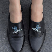 IN STOCK ,Free shipping, Flat black leather shoes, women shoes, everyday shoes, comfortable shoes, bead embroidery- a bird, Katz and Birds