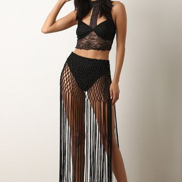 Lace Crop Top With Fringe Maxi Skirt Set