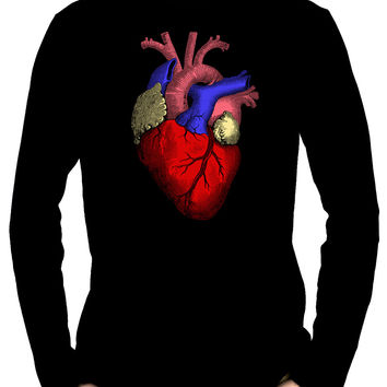 Anatomical Human Heart Men's Long Sleeve T-Shirt Alternative Medical Clothing
