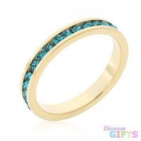 Stylish Stackables Turquoise Crystal Gold Ring (size: 08)