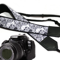 Sugar skulls camera strap. Halloween camera strap. DSLR Camera Strap. Camera accessories. Nikon Canon camera strap.