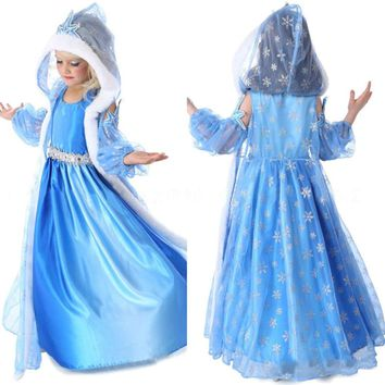 3Pcs Kids Girl Queen Costume Party Dress + Hooded Cape & Oversleeves