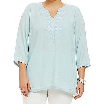 Chelsea & Theodore Plus Split-Neck Embroidered Tunic - Light Blue