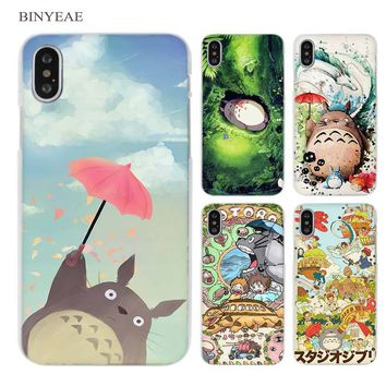 BINYEAE Studio Ghibli Ghiblies totoro neighbor Clear Cell Phone Case Cover for Apple iPhone X 6 6s 7 8 Plus 4 4s 5 5s SE 5c