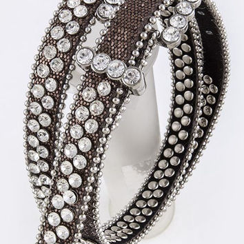Leather Brown Rhinestone Studded Skinny Belt