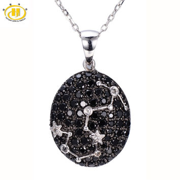 Hutang Scorpio Constellation Black Spinel & White Topaz Pendant Solid 925 Sterling Silver Necklace free chain