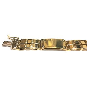 14k Yellow And White Gold Railroad Rolex Mens Bracelet, 8.5""