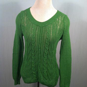 Anthropologie Sparrow Green Cable Knit Cotton Sweater Size Small (Sparrow (Anthropologie))
